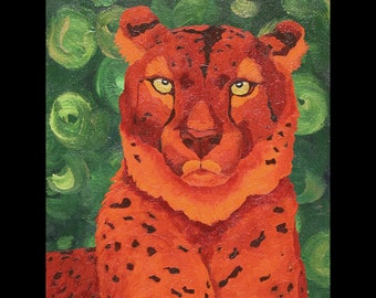 """Cheetah Small Fine Art Painting Print """"Queen of Tears"""" Red Orange Green Colorful Vibrant Art"""