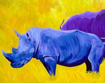 Rhino Rhinoceros Small Fine Art Painting Giclee Print Purple Yellow Blue Vibrant Colorful Art