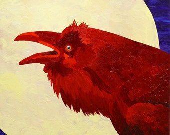 Raven Bird Small Fine Art Acrylic Painting Giclee Print Red Blue Moon Colorful Vibrant Art