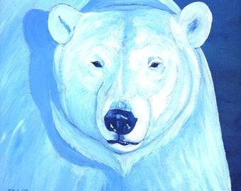 Polar Bear Small Fine Art Painting Print Blue Colorful Art