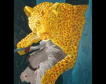 Leopard Teal Blue Large Fine Art Painting Print Fun Vibrant Color Art