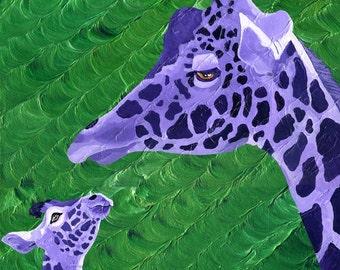 Giraffe Small Mom and Baby Fine Art Painting Print Purple Green Vibrant Colorful Art