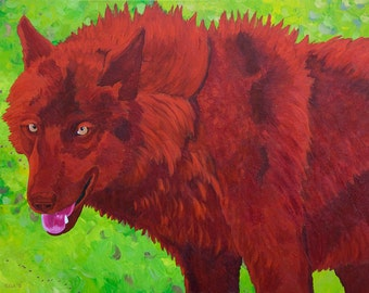 Wolf Small Fine Art Painting Print Red Green Colorful Vibrant Painting Colorful Art