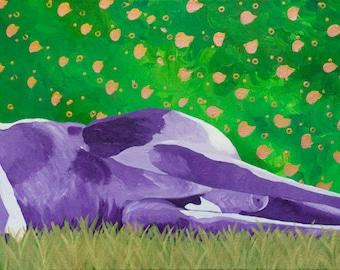 Kangaroo Painting, Original Acrylic, Art, Animal, Handmade, Purple Green Gold, Adonis, Color, Bright, Fun, Vibrant, Texture