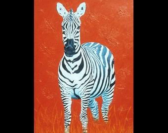 Zebra Small Fine Art Painting Print Red Blue Vibrant Colorful Art
