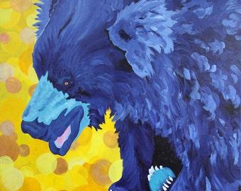 Bear Sloth Bear Small Fine Art Painting Print Blue Yellow Fun Vibrant Color Art