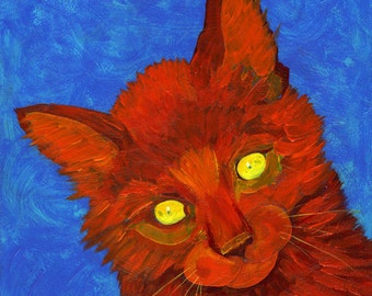 Cat Small Fine Art Painting Print Orange Red Blue Colorful Art