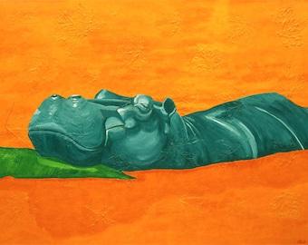 Hippo Small Fine Art Painting Print Green Orange Colorful Art