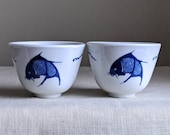 Vintage Japanese Cups, Small Japanese Bowls, Collectible Japanese Cups, Fish Cups, Japanese Kitchen, Japanese Home, Authentic Japanese Decor