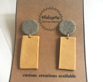 MUSTARD RECTANGLE / Polymer Clay Earrings