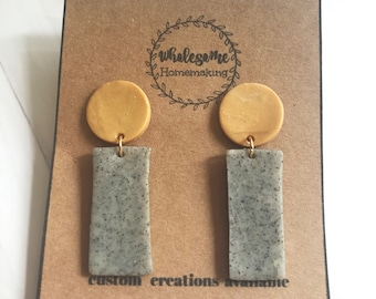 STONE RECTANGLE / Polymer Clay Earring