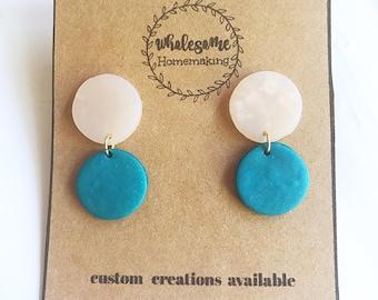 TEAL BEIGE CIRCLE / Polymer Clay Earrings
