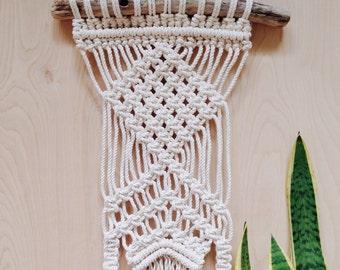Macrame Wall Hanging-on driftwood