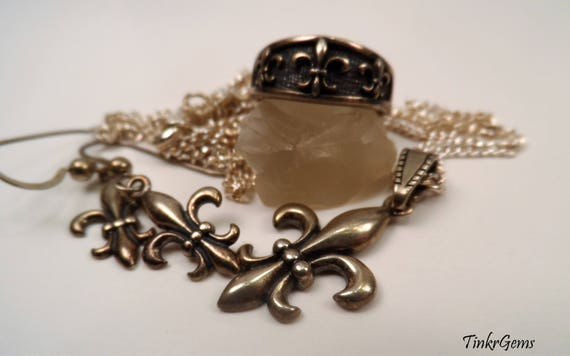 Vintage Sterling Silver Fleur De Lis Pendant Necklace French Etsy