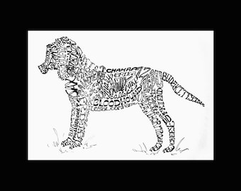 Words to Love By - Personalized Calligram Art - Large Dogs