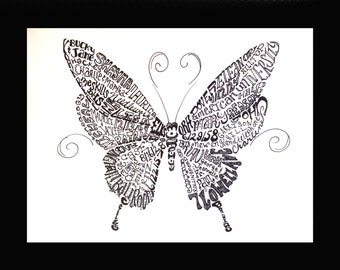Words to Love By - Personalized Calligram Art - Other Animals
