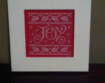Joy Red and White Cross Stitch Picture