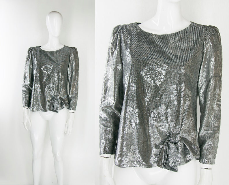 80s Metallic Lamé Bow Blouse Silver Disco Glam Goth Punk New Wave Romantic Floral Boho Structured Mod Groovy Funky Rock