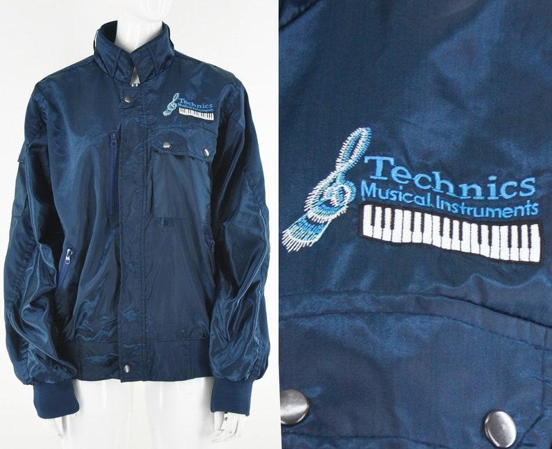 c9b8c285 80s Technics Sporty Satin Jacket DJ Musical Instruments   Etsy