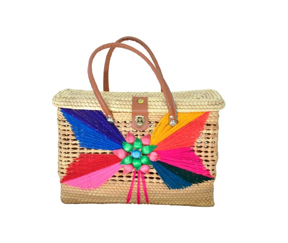 Mexican Woven Basket w/ Yard Detail Bag Tote Marke