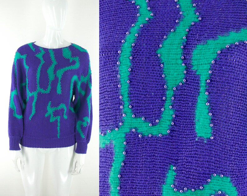 S s wacky beaded squiggle pattern sweater size large l new etsy