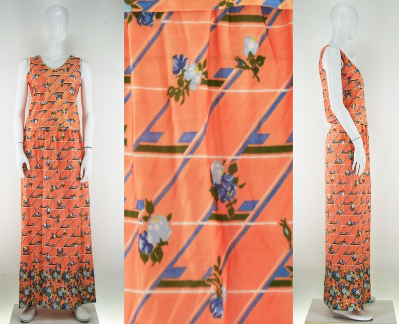 Vintage 70s Two Piece Floral Skirt and Top Dress Psychedelic Funky Mod GoGo Groovy Hippie Boho Bright Bold Flower Power Maxi