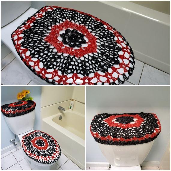 Crochet Toilet Seat Cover.Crochet Toilet Seat Cover Or Crochet Toilet Tank Lid Cover Black Red Tsc16d Or Ttl16d