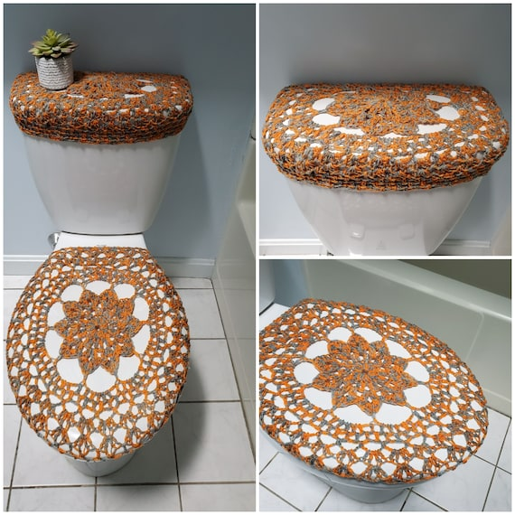 Surprising Toilet Tank Cover Crochet Toilet Tank Lid Cover Toilet Seat Cover Bathroom Decor Mixture Of Orange Grey Ttl17M 19Vc14 Or Tsc17M Cjindustries Chair Design For Home Cjindustriesco