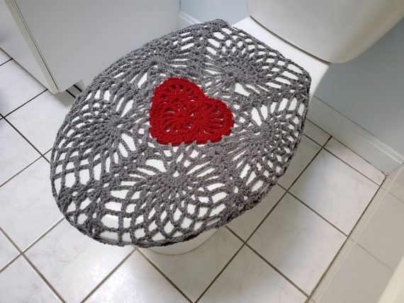 Fantastic Crochet Toilet Seat Cover True Grey Burgundy Or Dark Red Tsc11D Unemploymentrelief Wooden Chair Designs For Living Room Unemploymentrelieforg