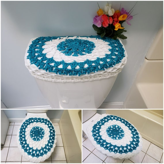Pleasing Toilet Seat Covers Tank Lid Covers Crochet Toilet Seat Cover Or Crochet Toilet Tank Lid Cover Frosted Sapphire White Tsc13H Or Ttl13H Dailytribune Chair Design For Home Dailytribuneorg