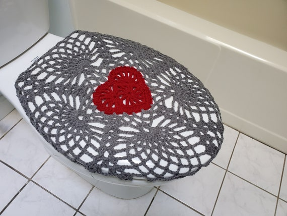 Amazing Crochet Toilet Seat Cover True Grey Burgundy Or Dark Red Tsc11D Ocoug Best Dining Table And Chair Ideas Images Ocougorg