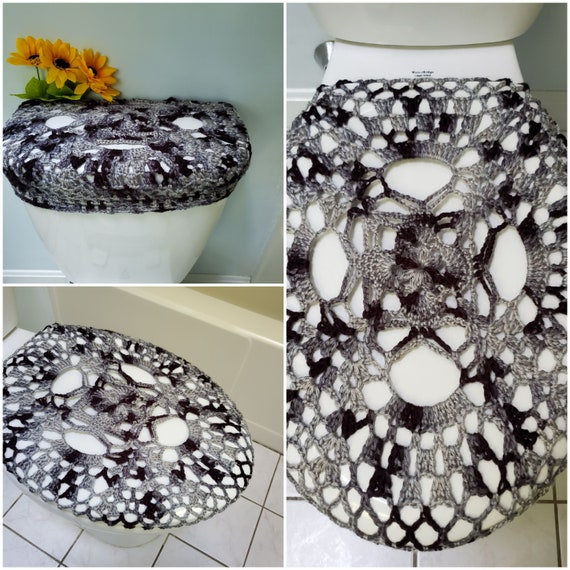 Astonishing Toilet Tank Cover Toilet Seat Cover Bathroom Decor Crochet Toilet Tank Lid Cover Greyscale Ttl8H Or Tsc8H Caraccident5 Cool Chair Designs And Ideas Caraccident5Info