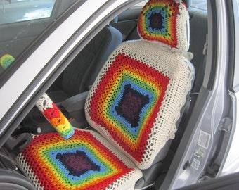 Car seat cover, Set of 3 Crochet Rainbow Car Front Seat Covers - aran/7 rainbow colors (RCFSCset 1A)