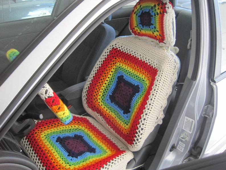 Car Seat Cover Set Of 3 Crochet Rainbow Car Front Seat Covers Etsy