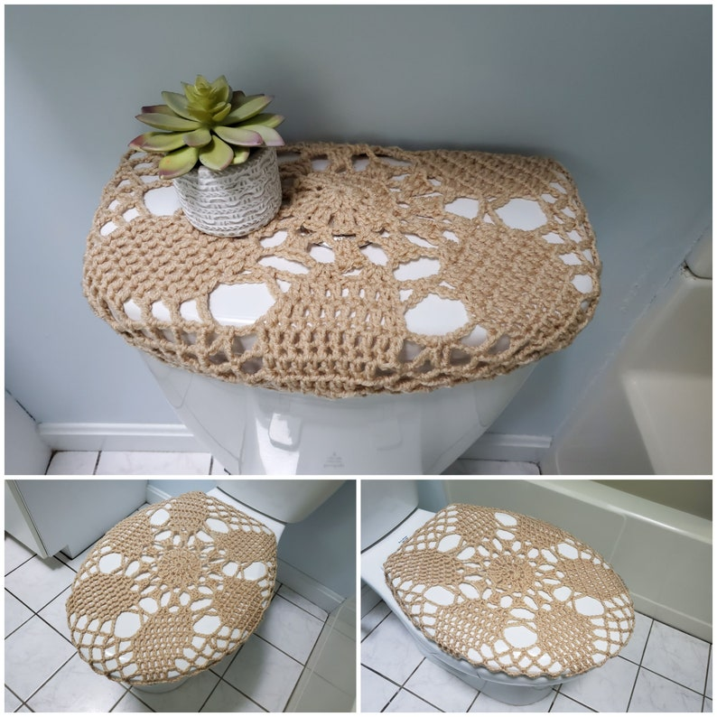 Peachy Crochet Toilet Tank Lid Cover Or Toilet Seat Cover Light Brown Ttl29A Or Tsc29A Cjindustries Chair Design For Home Cjindustriesco
