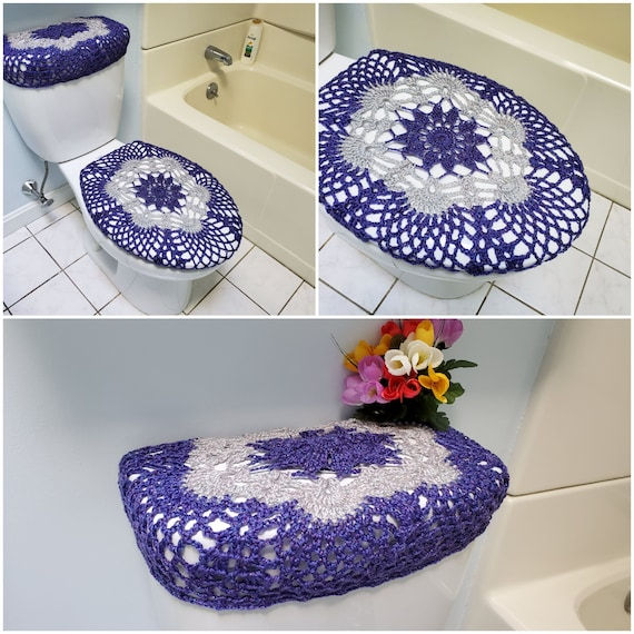 Awesome Toilet Tank Lid Cover Or Toilet Seat Cover Crochet Tank Cover Toilet Cover Bathroom Decor Eggplant Light Grey Tsc9J Or Ttl9J Cjindustries Chair Design For Home Cjindustriesco
