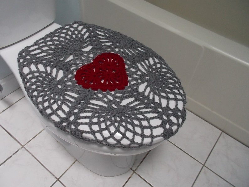 Tremendous Crochet Toilet Seat Cover True Grey Burgundy Or Dark Red Tsc11D Ocoug Best Dining Table And Chair Ideas Images Ocougorg