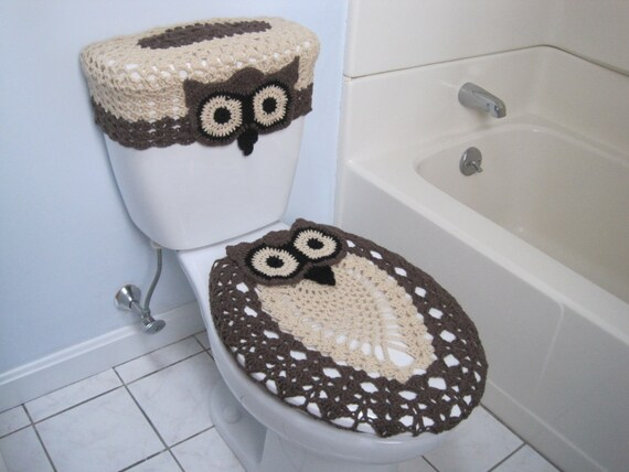 Cool Items Similar To Crochet Set Of Owl Toilet Tank Lid And Dailytribune Chair Design For Home Dailytribuneorg