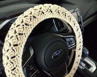 Crochet Steering Wheel Cover, steering wheel cover, car accessories, steering wheel Cozy - cream (CSWC 01A)