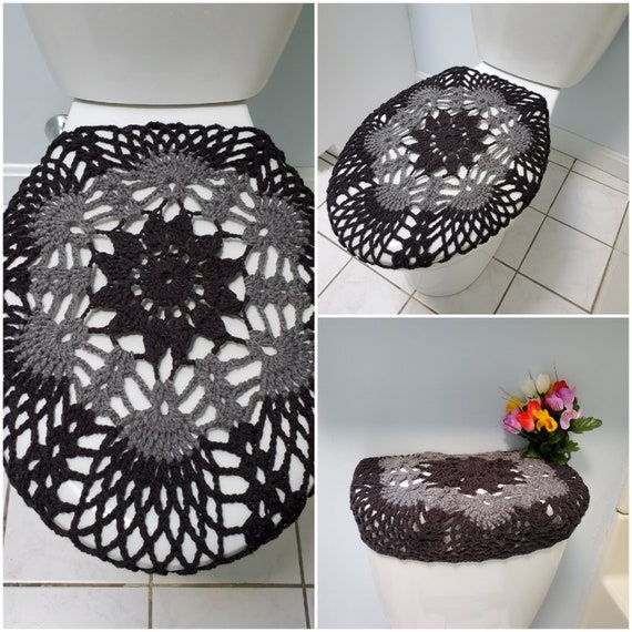 Pleasing Crochet Toilet Seat Cover Or Tank Lid Cover Dark Grey True Grey Tsc9F Or Tll9F Cjindustries Chair Design For Home Cjindustriesco