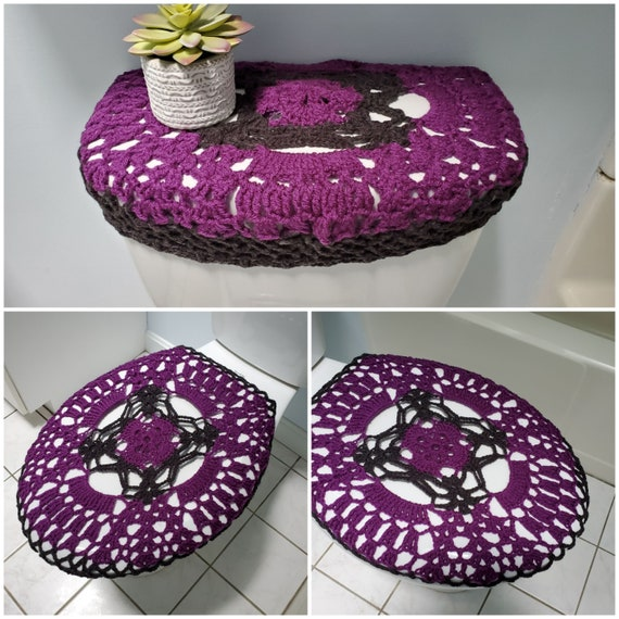 Pleasing Crochet Toilet Seat Cover Crochet Toilet Tank Lid Cover Bathroom Sets Dark Orchid Dark Grey Tsc8G Or Ttl8G Ocoug Best Dining Table And Chair Ideas Images Ocougorg
