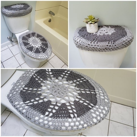 Crochet Toilet Seat Cover.Crochet Toilet Seat Cover Tank Lid Cover Bathroom Accessories Soft Grey True Grey Tsc28s Or Ttl28s
