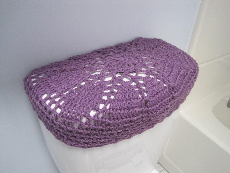 TTL27A or TSC27A Crochet Toilet tank lid Cover medium purple toilet seat cover bathroom decor