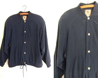 Navy Blue Silk Bomber Jacket - Minimalist Chic Sporty Slouchy fit Lightweight Button Down Jacket - Mens Medium