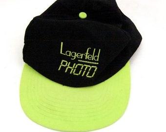 93ecb842549 Karl Lagerfeld PHOTO Nylon Snapback Hat Sporty 90s Designer Vintage Dad Hat  Neon Yellow