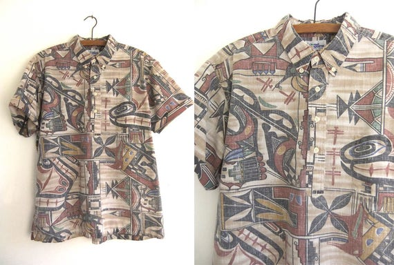 b0ac0f102 Reyn Spooner Pullover Aloha Shirt Reverse Dye Tribal Pattern | Etsy