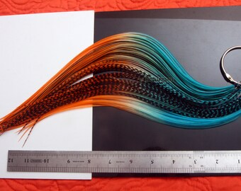 """XL 11-14"""" Turquoise Orange Hair Feather Extensions DIY Kit / Feather Hair Accessories Tropical Colors Teal Orange Rooster Feathers 8COUNT"""