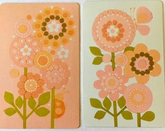 Flower Swap Cards / 2 Vintage MOD Flowers Playing Cards Great for Mixed Media, Journals, Smash Books, etc.