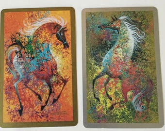 Horse Swap Cards  / 2 Vintage Playing Cards Horse Theme Ephemera for Collage, Altered Art, Scrapbooking, Journals