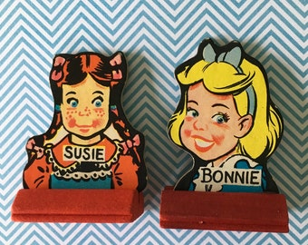 Game Pieces / 2 Vintage Girl Go to the Head of the Class Cardboard game pieces Great for crafts, Mixed Media, etc.